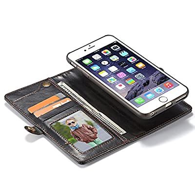 IPhone/Samsung PU Leather Wallet Phone Case Protective Folio Flip Cover with Removable Case & Hand Straps