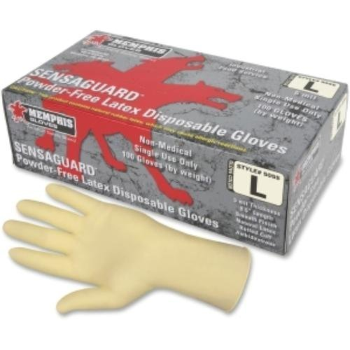 Memphis MPG5060L SensaGuard Industrial Grade Chlorinated Disposable Gloves White Large 100/Box, White by - Mall Stores Memphis