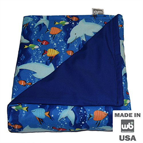 "WEIGHTED BLANKETS PLUS LLC - CHILD SMALL WEIGHTED BLANKET - DOLPHIN - COTTON/FLANNEL (48""L x 30""W) 5lb MEDIUM PRESSURE"