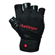 Harbinger Pro WristWrap Vented Cushioned Leather Palm Weightlifting Gloves, Pair