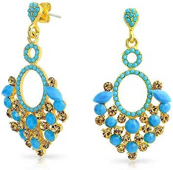 Bling Jewelry Gold Plated Estate Blue Crystal Chandelier Earrings