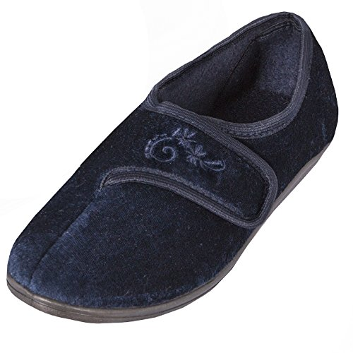 Forever Dreaming Womens Touch Fastened Plain Luxury Velour Shoes Wide Fit House Slippers Navy OBNK0J