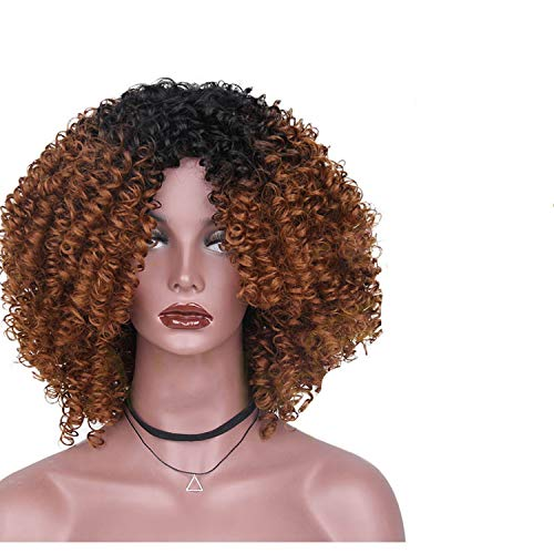 Chibi-store High Temperature Fiber Mixed Brown and Blonde Color Synthetic Short Hair Afro Curly,4/27HL