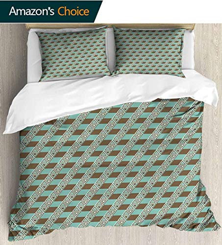 (Geometric Full Queen Duvet Cover Sets,Old Fashioned Diagonal Pattern in Retro Colors Triangles Striped Backdrop Duvet Cover with Pillowcases Child Bedding Sets, 87