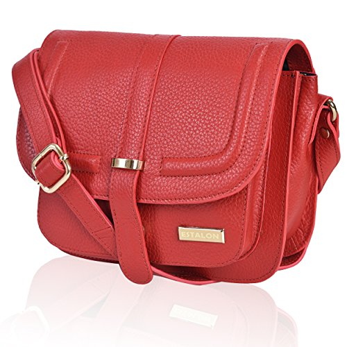 Handcrafted Red Bag - Leather Crossbody Bags For Women - Crossover Purse Over The Shoulder Womens Purses and Handbags Travel Saddle Bag by Estalon (Red Pebble)