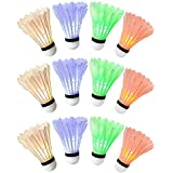 Ohuhu LED Badminton Shuttlecock, Night Lighting Birdies Shuttlecocks Set for Yard Games, Outdoor and Indoor Sports, 12-Pack