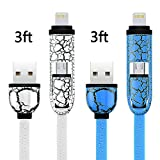 Lightning Cable,Lightning Sync and Charge Cable with Lightning & micro connectors for iPhone 6 6s Plus 5 5S , iPad Air, Galaxy S4 S5, Nexus 5 6, Moto X, HTC One, LG G3 (Blue+White) ¡­
