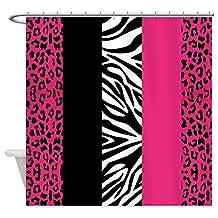 CafePress - Hot Pink Animal Print Stripes Zebra Leopard Shower - Decorative Fabric Shower Curtain