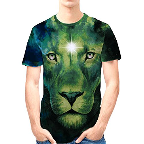 SPE969 Top Blouse 3D Lion Printed Personality Mens Casual Slim Short-Sleeved Shirt -