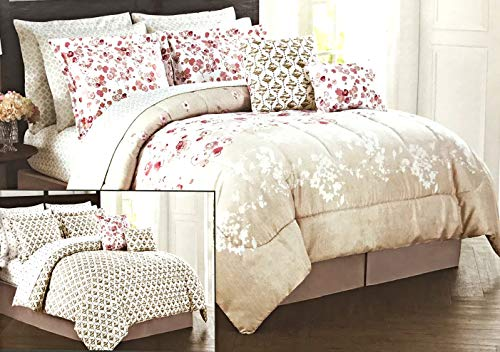 nsemble | Super Soft White With Tan & Pink Flower Designs | Includes 1 Reversible Comforter | Shams | Bed Skirt | 4 Piece Reversible Sheet Set & 2 Decorative Pillows 100% Polyester ()