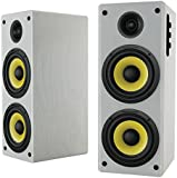 Thonet and Vander HOCH BLUETOOTH - 2.0 Wooden Bookshelf Bluetooth Speakers (white, pair) - German Engineering and Design