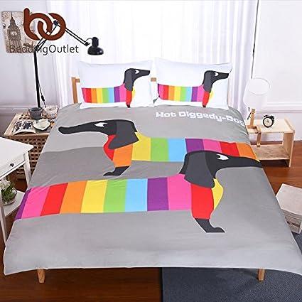 beddingoutlet de perro salchicha salchichas Rainbow cachorro Juego de funda de edredón juego de ropa de