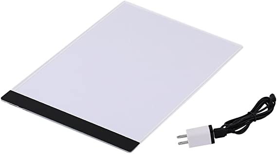 Pratical Long Life 4mm Ultrathin A4 LED Light Pad Copy Pad Drawing Tablet LED Tracing Painting Board without Radiation(White&Black)