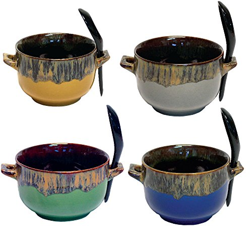 Bowl and Spoon Combo - Ceramic Glazed Art Deco Soup, Cereal and Rice Bowl (Set of 4)