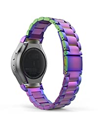 Gear S2 Watch Band, MoKo Universal Stainless Steel Watch Band Strap Bracelet + Connector for Samsung Gear S2 SM-R720 & SM-R730 SmartWatch (Not Fit Gear S2 SM-R735), COLORFUL