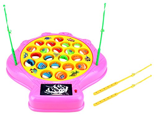 Deep Sea Shell Fishing Game for Children Battery Operated Rotating Novelty Toy Fishing Game Play Set w/ 21 Fishes, 4 Fishing Rods, Lights, Music (Pink) by Velocity Toys