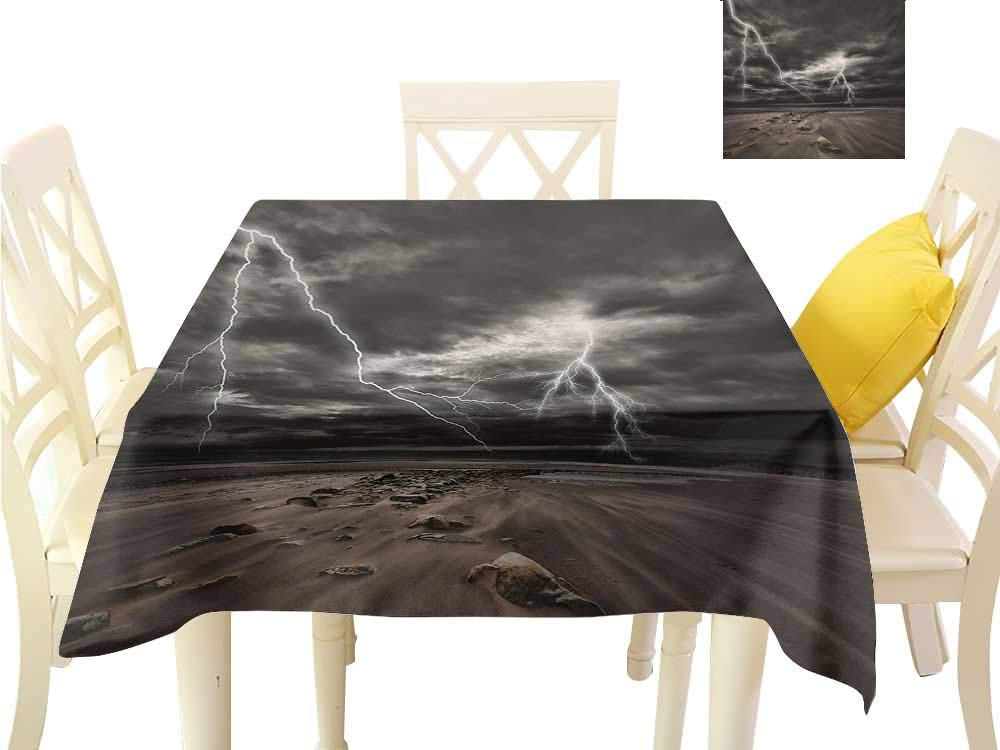 """familytaste tablecloths Nature,Thunder Flashes Across The Sandy Beach from A Powerful Storm Radiant Beams Print,Grey Brown Dining Table Decorations W 36"""" x L 36"""""""