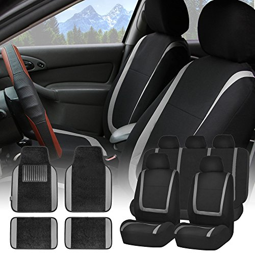 FH GROUP FH-FB032115 Unique Flat Cloth Seat Covers with F14407 Premium Carpet Floor Mats Gray / Black- Fit Most Car, Truck, Suv, or Van