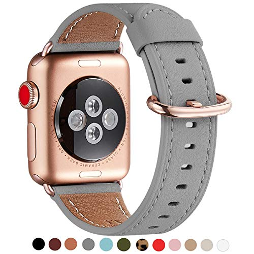 WFEAGL Compatible iWatch Band 40mm 38mm, Top Grain Leather Band with Gold Adapter (The Same as Series 4/3 with Gold Aluminum Case in Color) for iWatch Series 4/3/2/1 (Gray Band+Rosegold Adapter) ()