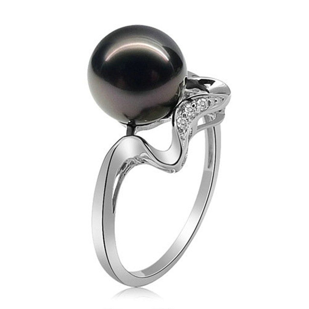 Gnzoe Jewelry, 10MM Pearl Ring Women Wedding Bridal Engagement Ring, Customized Ring