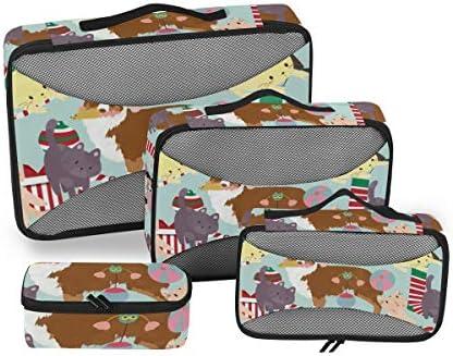 トラベル ポーチ 旅行用 収納ケース 4点セット トラベルポーチセット アレンジケース スーツケース整理 萌え かわいい 猫柄 ネコ 犬柄 収納ポーチ 大容量 軽量 衣類 トイレタリーバッグ インナーバッグ
