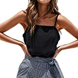 NUWFOR Women Sleeveless Pure Color Bandage Camisole Vest Tops Loose T-Shirt Blouse(Black,US XXL Bust:36.94'')