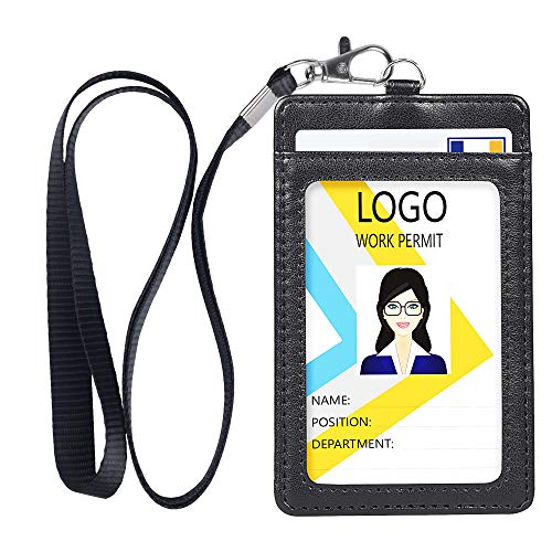 Badge Holder, Vertical Double PU Leather ID Badge Holder with 1 Clear ID Window & 1 Credit Card Slot and a Detachable Neck Lanyard (Black) (1 Card The Credit)