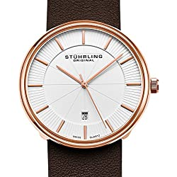Stuhrling Original Classic Everyday Wrist Watch for Men, Casual Swiss Analog Stainless Steel Men's Quartz Wristwatch with Genuine Leather Strap, Modern Vintage look (Rose Gold)