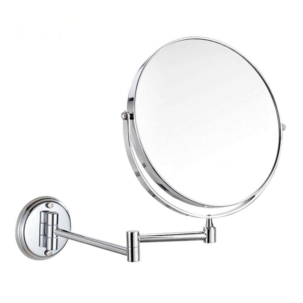 A Bathroom Bathroom Vanity Mirror Telescopic Folding Mirror Round Bathroom Mirror Wall Mount Triple Magnification Double-Sided Mirror Household Makeup Mirror,A