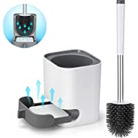 LEHOM Toilet Brush and Holder Set, Soft Silicone Bathroom Toilet Bowl Cleaner Brushes and Storage with TPR Soft Bristle…