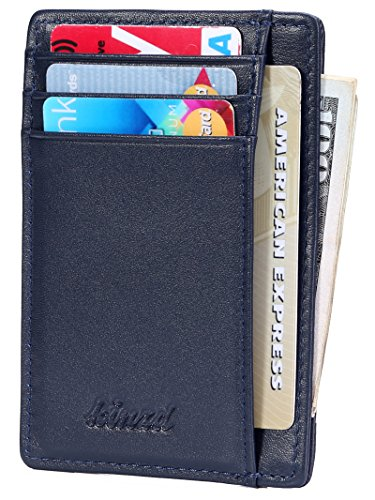 Slim Wallet RFID Front Pocket Wallet Minimalist Secure Thin Credit Card Holder (One Size, A Napa Blue)