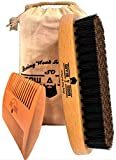 Beard Brush With Boar Bristle And Double Sided Mustache Comb For Men-Great Tool When You Apply Shampoo,Oil And Balm For Optimum Conditioning-Just The Best Kit for Growth And Care Your Facial Hair.