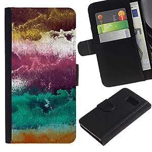 WINCASE ( No Para S6 EDGE ) Cuadro Funda Voltear Cuero Ranura Tarjetas TPU Carcasas Protectora Cover Case Para Samsung Galaxy S6 SM-G920 - ciruelo púrpura arte nubes abstractas