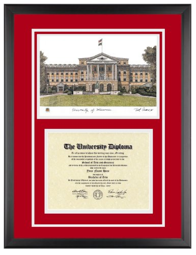 Wisconsin-Madison Diploma Frame with Artwork in Classic Black