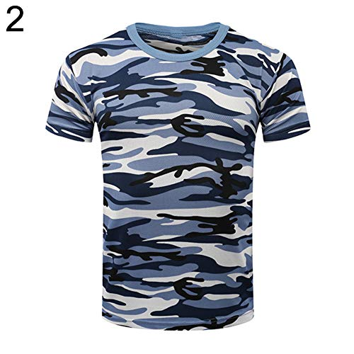 MoO1deer Baby Clothes Students T-Shirt Short Sleeve Blouse Unisex Summer Camouflage Military Combat - 2# 150cm(95)