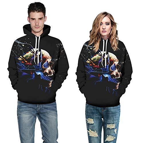Halloween Couples Mode KIKOY Ghost Shadow Print Long Sleeve Sweatshirt Tops Blouse