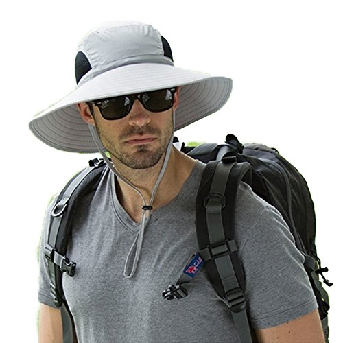 Men's Waterproof Sun Hat, Summer UV Protection Bucket Mesh Boonie Cap with Adjustable Drawstring for Fishing, Hiking, Camping, Boating & Outdoor Adventures (Light Gary)