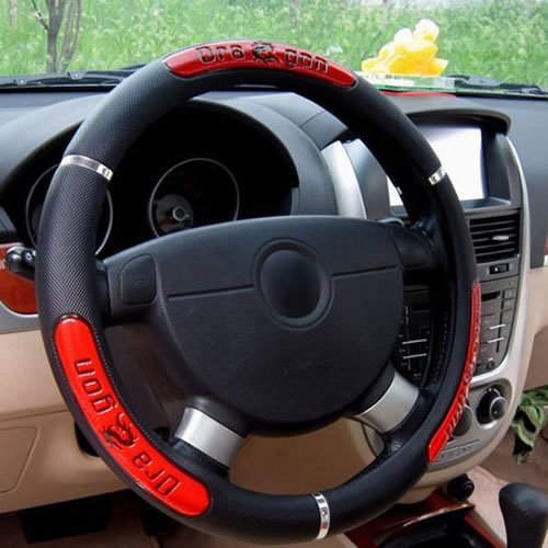 Kasstino Dragon Leather Auto Car Steering Wheel Cover 38CM/15'' Anti Skid (Red)