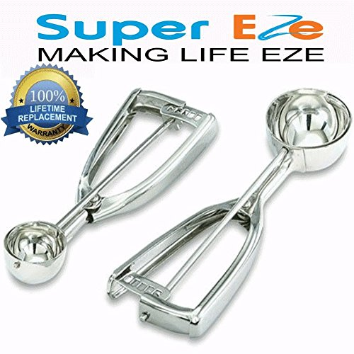 SuperEze Cookie Dough Scoop & Ice Cream Scooper. Premium Stainless Steel (Size 40) - FREE Recipes. Perfect for Muffins, Cookies, Water Melons or a Portion Control Disher- Small 3/4 Ounce Dropper- 40mm (Plastic Scoop For Register compare prices)