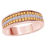 DreamJewels 6MM 14K Rose Gold FN Alloy 0.50CT Yellow Citrine & White Cz Diamond Ring 3 Row Pave Men's Hip Hop Anniversary Wedding Band Ring Size All Available