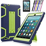Fire 7 2017 Case, Mignova Heavy Duty Hybrid Protective Case Build in Kickstand for All-New Fire 7 Tablet (7th Generation 2017 Release) + Screen Protector Film and Stylus Pen (Navy Blue/Green)