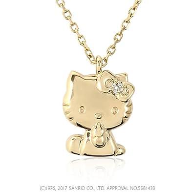 Amazon ハローキティ 18金 ネックレス ダイヤ ダイヤモンド ペンダント