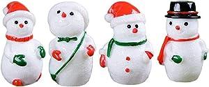 "Yahpetes Micro Landscape 4 Pcs Christmas Miniature Ornaments 0.63""X1.2"" Fairy Garden Dollhouse Decoration Kawaii DIY Fairy Garden Ornaments Resin Craft Kids Toys"