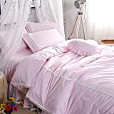 TideTex 4PC Pink 100% Cotton Cut Princess Girl Bedding Set Home Textiles Creative Bowknot Design Duvet Cover Set 3-piece Lace Bed Skirt Teen (King, Pink)