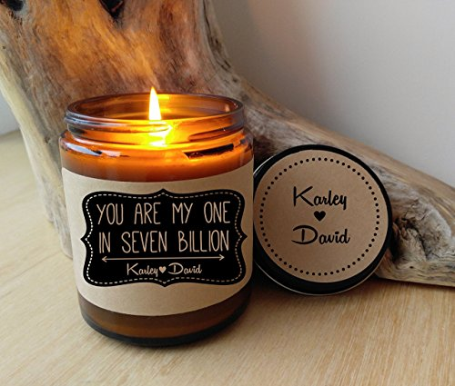 Personalized Candle Soy Candle Scented Candle You Are My One In Seven Billion Jar Candle Custom Candle Boyfriend Gift Girlfriend Gift