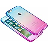 Shockproof 360° Silicone Protective Hybrid Clear Case Cover For Apple iPhone 7 6S Plus 6S 6 SE 5S 5C 5 4S 4 (iPhone 4/4s, Blue/Purple)