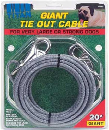 Titan Giant Cable 20-Feet Long Tie Out, Silver, My Pet Supplies