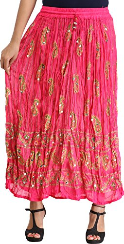 Exotic India Crinkled Striped Long Skirt with Printed P - Color Raspberry Sorbet