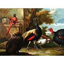 'Peacock And Turkey' Oil Painting, 30x40 Inch / 76x103 Cm ,printed On Perfect Effect Canvas ,this Beautiful Art Decorative Canvas Prints Is Perfectly Suitalbe For Garage Decor And Home Artwork And Gifts