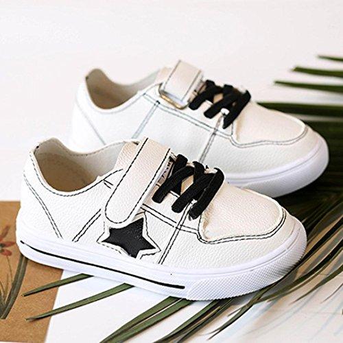 Jamicy® Kinderschuhe, Baby Jungen Mädchen Star Print Leder Patch Sport Casual Flache Schuhe Schwarz